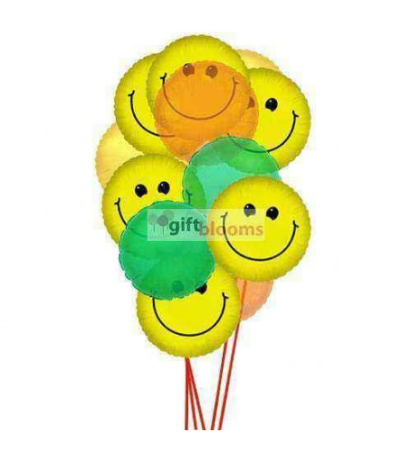 Smiley Balloon Bouquet  (6 Latex and 6 Mylar Balloons)