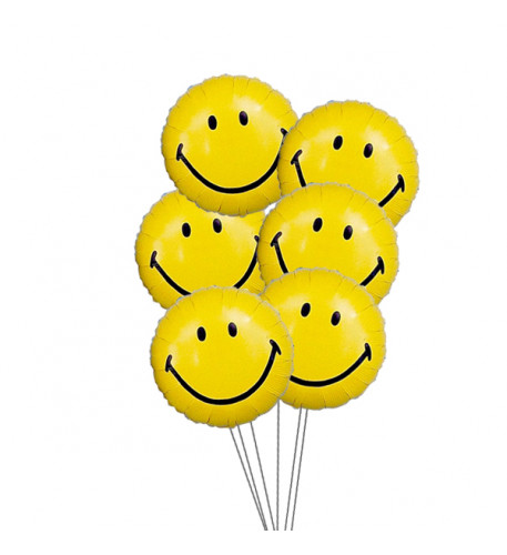 Smiley Balloon Bouquet (6 Mylar Balloons)