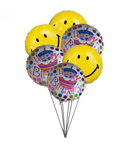 Smiley blue birthday balloons(6 Mylar Balloons)