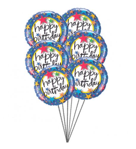 Pinkish Balloons saying Happy Birthday (6 Mylar Balloons)