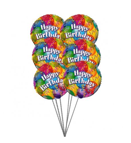 Sparkling Birthday balloons(6 Mylar Balloons)