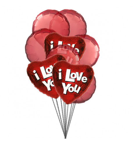 Balloons of love (3 Mylar and 6 Latex Balloons)