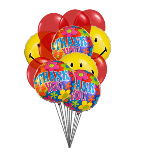 Thank's with smile (6-Mylar & 6-Latex Balloons)