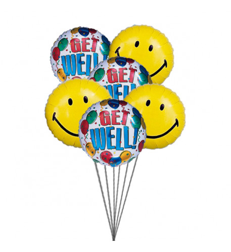 Getwell smiley balloons ( 6 Mylar Balloons)