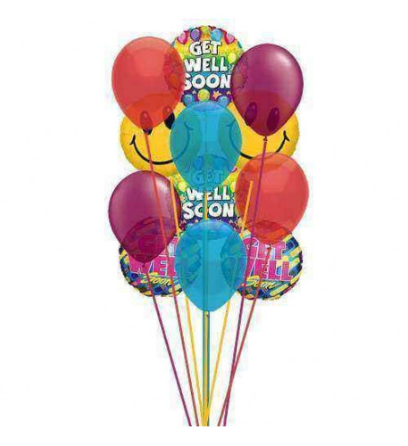 Smile and  wish Get well     (  6-Latex Balloons )