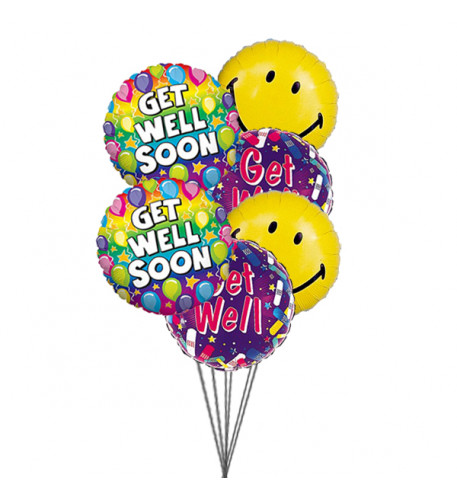 Smile and wish Get well (6 Latex & 3-Mylar Balloons)