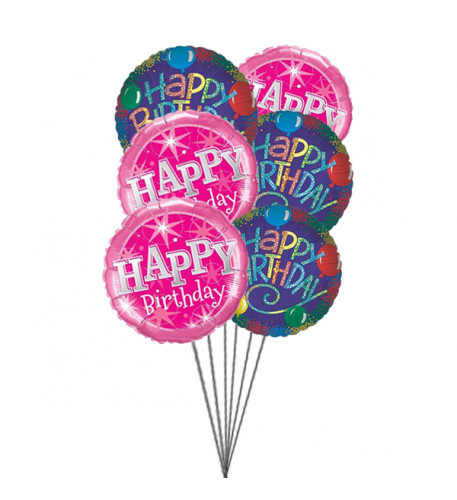 Birthday Greeting balloons (6 Mylar Balloons)