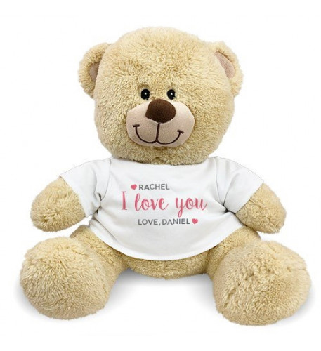 Personalized I Love You Hearts Teddy Bear