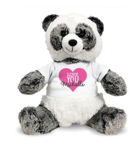 Personalized Love You Heart Panda 12 (11 inch teddy)