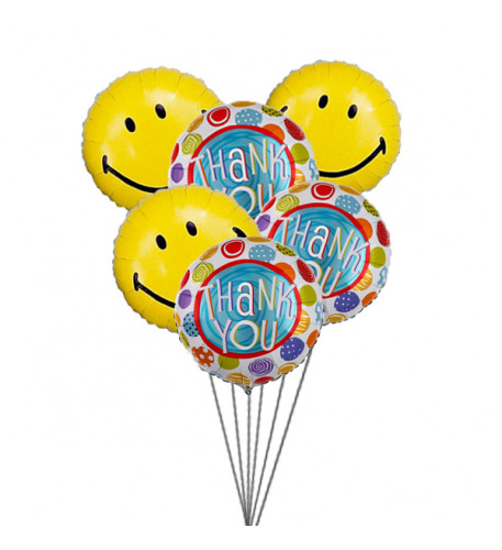 Thank You Balloon Bouquet (6 Mylar Balloons)