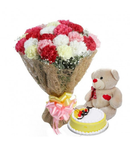 18 Assorted Carnations Bouquet,1 Lb Cake And Free Teddy Bear