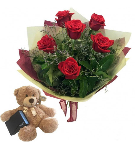 6 Red Roses And Free Teddy