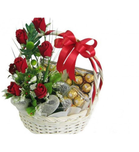 Basket Of Free Roses With 2 Boxes Of Ferrero Rocher Chocolates