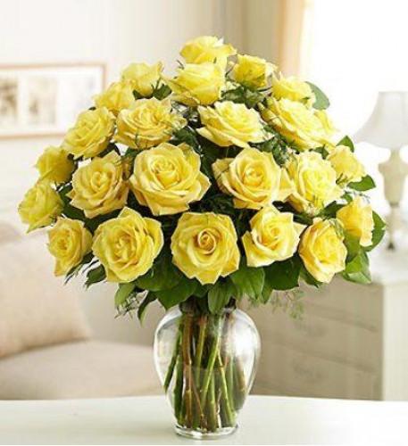 24 Yellow Roses Vase