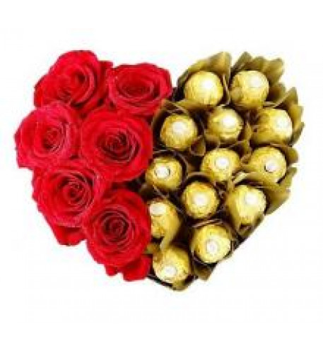 6 Red Roses And 16 Pcs Of Ferrero Rocher Heart Shaped Arrangement