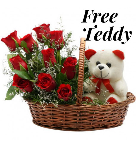 12 Red Roses And Free Teddy Bear
