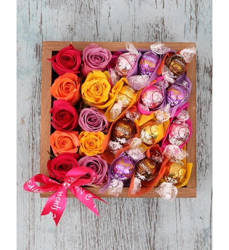 Delightful Roses And Lindt Crate