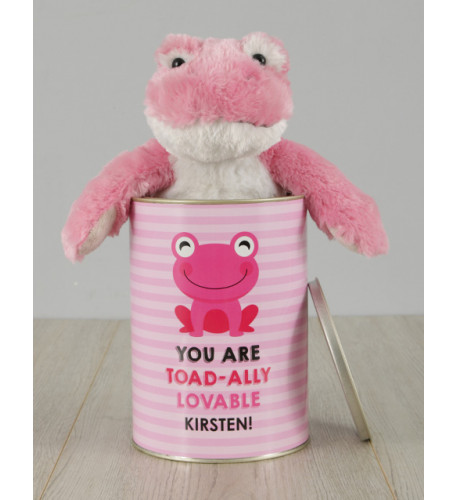 Personalised Pink Frog Love Tin