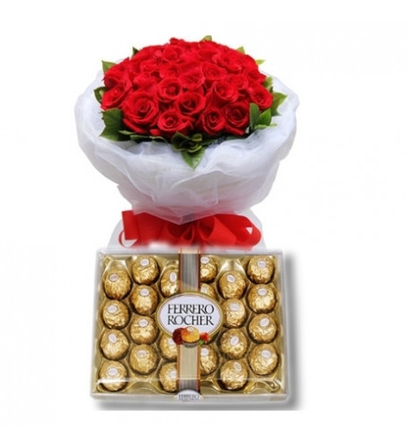 24 Red Roses bouquet with Ferrero chocolate