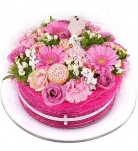 Birth girl flower cake (Small)