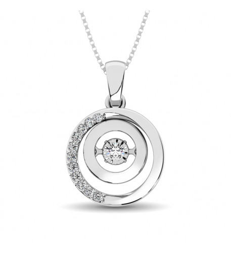 Sterling Silver 0.1 Ct.Tw.Moving Diamond Fashion Pendant