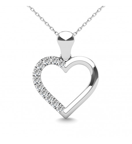 10K White Gold 0.1 Ctw Diamond Heart Pendant 2
