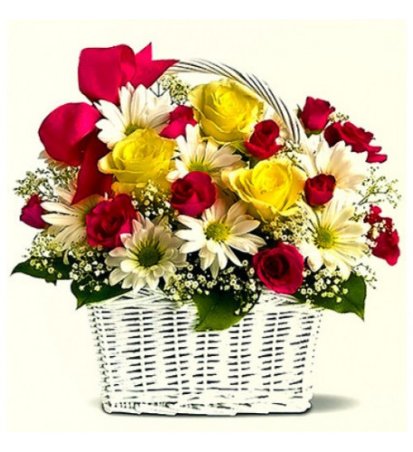 Basket Of Mixed Seasonal Flowers