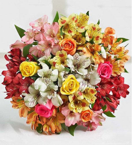 Assorted Roses And Peruvian Lilies (Bouquet Only)