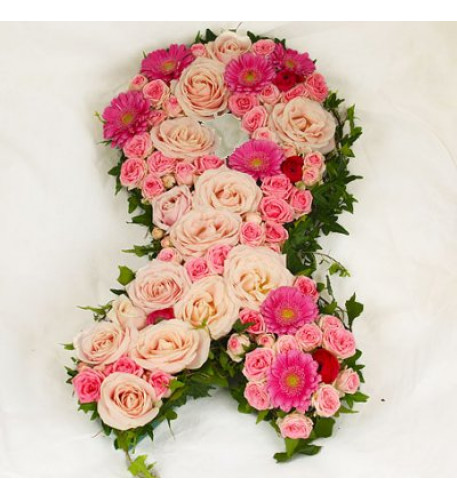 Burial Floral - Pink ribbon decoration
