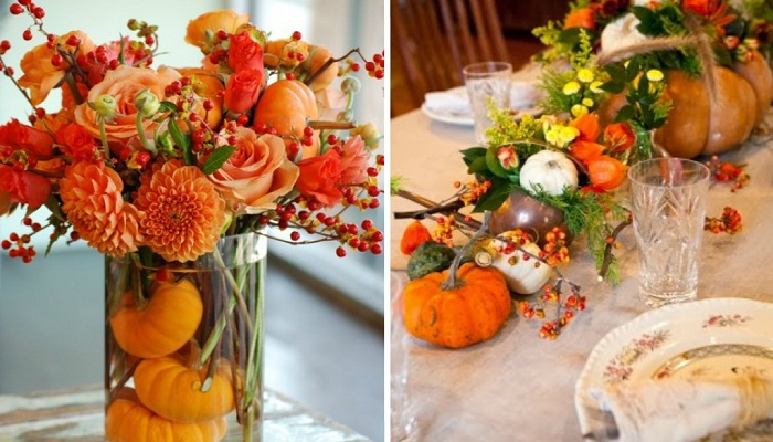 Pumpkin and Leaves as centerpiece